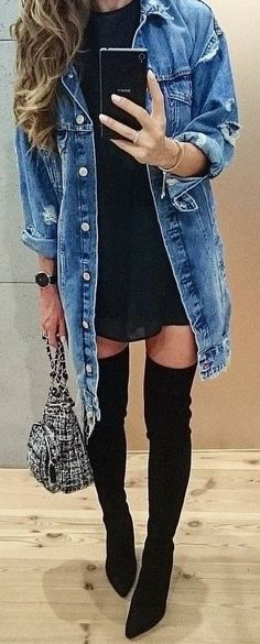 cool outfit idea : denim jacket + bag + over the knee boots + dress