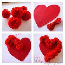 coração pompom diy