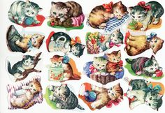 I remember having the kitten with the green ball.  Vintage Die Cut Scrap Baby Kittens Kruger w.germany (Image1)