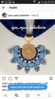 Model This Pin was discovered by gül Scarf Jewelry, Needle Lace, Tatting, Needlework, Knit Crochet, Diy And Crafts, Crochet Necklace, Handmade Jewelry, Jewels