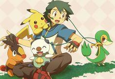Ash, Pikachu, Tepig, Oshawott, and Snivy. Ash Pokemon Team, Pokemon Ash Ketchum, Pokemon Pins, All Pokemon, Pokemon Stuff, Cute Pikachu, Cute Pokemon, Digimon, Pokemon People