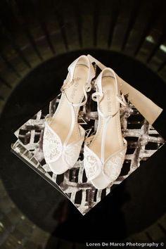 Wedding shoes ideas - glam, open toe, white, silver, heels {Loren De Marco Photography}