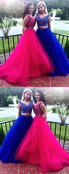 Two Pieces A-Line Beading Prom Dresses,Long Prom Dresses,Cheap Prom Dresses, Evening Dress Prom Gowns, Formal Women Dress,Prom Dress