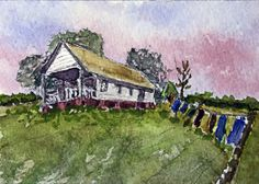 Clothes on the Line, Original ACEO by Barry Jones