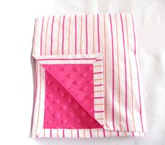 Hot Pink and Orange Striped Minky Baby Blanket by AmberellaDesigns