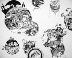 Surreal Circular Composition in Pen and Ink - Conway High School Art Project