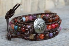 Colorful beaded leather wrap bracelet by SinonaDesign, $50.00