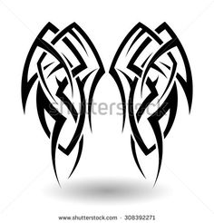 Hand Drawn Tribal Tattoo in Wings Shape. Elegant Smooth Design Over White Background. Vector Illustration.