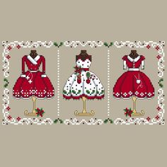 Mrs Clause Christmas Cross Stitch Pattern Design Cross Stitching Needlework Festive Dress Forms Red Coat Apron Shannon Wasilieff