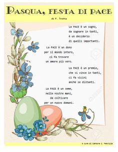 """Poesia """"Pasqua, festa di pace"""" di F. Trotta Diy And Crafts, Crafts For Kids, Learning Italian, General Crafts, Happy Fathers Day, Holidays And Events, Education, School, San Valentino"""
