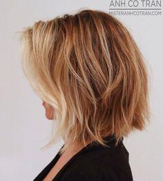 Side view of soft wavy bob cut