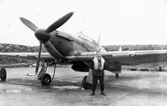 """When No 1 Squadron RCAF was relocated to RAF Croydon on 4 July 1940, S/L Ernest A """"Ernie"""" McNab, pictured at RAF Northolt on 12 September, flew with No 111 Squadron RAF to gain experience of RAF Fighter Command operations, claiming a Do 17 destroyed on 15 August. The squadron's first victory had occurred when the former airfield had been bombed by a formation of Me 110 fighter bombers. In the following weeks, McNab destroyed 3 further aircraft with 1 shared 1 probable and 3 more damaged."""