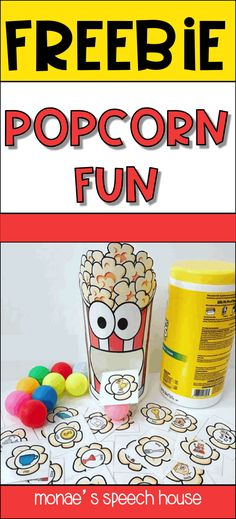 FREE! Do you like fun FREEBIES? This POPCORN activity is perfect as a simple activity during speech therapy or as a classroom activity. Perfect for busy SLPs. Students will enjoy this! Can be used as a reinforcer too. These are perfect for speech therapy, special education, autism, kindergarten, 1st, 2nd, 3rd, 4th, & 5th graders. Spring and Easter game. {preK, Kinder, speech therapy, gen ed} Uses empty plastic wipes container! EASY ANYTIME CRAFT