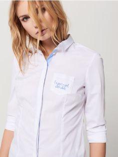 Mohito - Bílá košile se světle modrými detaily