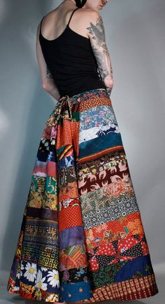 053c4dcebee6 Reserved Waste not want not gypsy hippie boho patchwork maxi bustle skirt