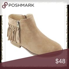 Taupe Suede Ankle Boots with Fringe These are such a cute style with fringe and double zippers. Exterior Zipper is non working. Inner Zipper is working to allow for easy entry. A low comfortable heel will make these your go to boots this season. Shoes Ankle Boots & Booties