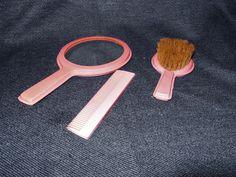 Rare Early Vintage Bakelite Girl's Vanity Set Comb Brush Mirror Japan? VGC