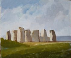 "Portland Memory Stones, as seen from my studio window early morning. Painted in oil on board 12"" x 10"" by Podi Lawrence."