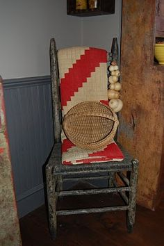 .love this old blue chair...with red and white quilt!!!!!