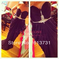Sexy Sweetheart Chiffon Beaded Pleated Black Prom Dresses Long 2014 New Arrival Formal Evening Gowns BO3594 $109.00