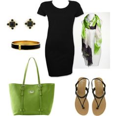 My Favorite! Love the skinny black dress and the lime green purse. The scarf brings it all together.