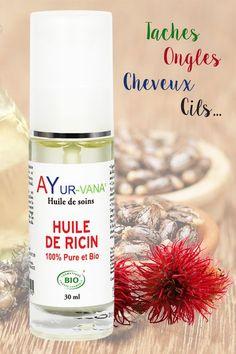 L'huile de ricin a de nombreuses vertus, elle permet par exemple de diminuer les taches pigmentaires (visage, mains, masque de grossesse). Elle est également idéale pour favoriser la croissance des cheveux, cils et ongles, tout en les fortifiant.