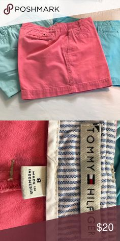 3 pairs!! Tommy Hilfiger 5 inch shorts Tommy Hilfiger 5 inch chino shorts one blue one pale aqua and one pink Tommy Hilfiger Shorts