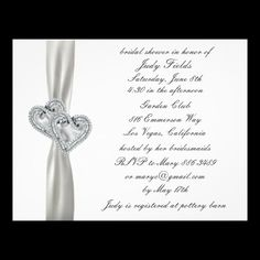 Hearts White Wedding Bridal Shower Invitations  Personalize this invitation to make it your own. Change font style, color and size as well as background color and paper type by using the customize it button.   #brides