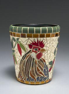 Free Mosaic Patterns for Beginners - Bing Mosaic Planters, Mosaic Vase, Mosaic Tile Art, Mosaic Flower Pots, Mosaic Birds, Mosaic Artwork, Mosaic Crafts, Mosaic Projects, Pebble Mosaic