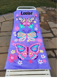 Purple BUTTERFLY Butterflies Beach Towel Personalized by CACBaskets on Etsy Oversized Beach Towels, Purple Butterfly, Beach Mat, Butterflies, Outdoor Blanket, Unique Jewelry, Handmade Gifts, Kids, Vintage
