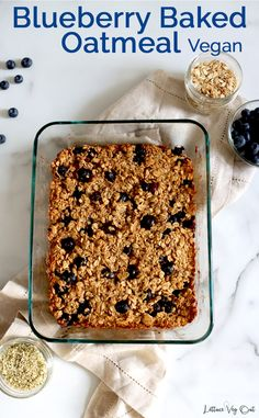 This vegan baked oatmeal with banana and blueberries creates a super easy, delicious and healthy vegan breakfast; perfect for meal prep! This oatmeal casserole is so simple to make and there's a full length video to walk you through the steps. #Vegan #VeganRecipe #VeganBreakfast #Oatmeal #VeganGlutenFree #GlutenFreeVegan #VeganMealPrep #PlantBased #DairyFree #DairyFreeRecipe #Eggless #OatmealRecipe #BakedOats #Blueberry #Banana #HealthyBreakfast #HealthyRecipe #PeanutButter #MealPrep Baked Oatmeal Casserole, Vegan Baked Oatmeal, Healthy Oatmeal Recipes, Healthy Vegan Breakfast, Vegan Snacks, Healthy Snacks, Blueberry Recipes, Banana Recipes, Fruit Recipes