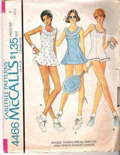 """Vintage 1975 McCall's 4466 Tennis Dress, Panties & Tennis Racket Cover Sewing Pattern Size 6 Bust 30 1/2"""""""
