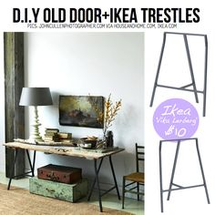 "Old Door Table using Ikea Trestles ""Vika Lerberg"""