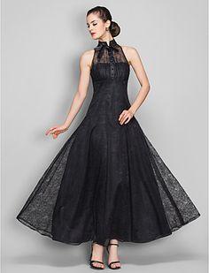 [BlackFridaySale]a-line hohen Hals knöchellangen Abendkleid Spitze (699490) - EUR € 68.76