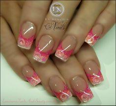 Luminous Nails: Pink, Orange & White Glitter Nails with Circles and Stars.