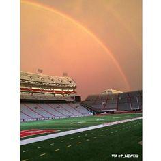 Beautiful double rainbow at Memorial Stadium.