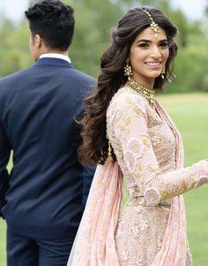 favorite wedding and engagement hairstyles 2019 - Bollywood Hairstyles, Indian Wedding Hairstyles, Bride Hairstyles, Down Hairstyles, Lehenga Hairstyles, Updo Hairstyle, Celebrity Hairstyles, Indian Wedding Makeup, Desi Wedding