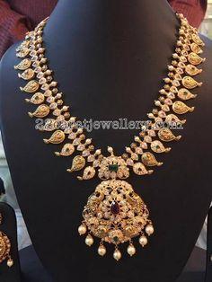 Pachi Mango Mala with Pearls - Jewellery Designs
