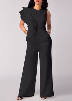 Wide Leg Black High Waist Flouncing Jumpsuit on sale only US$32.06 now, buy cheap Wide Leg Black High Waist Flouncing Jumpsuit at liligal.com
