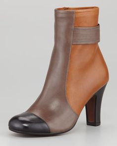 Chie Mihara Quieja Colorblock Cap-Toe Ankle Boot - Neiman Marcus.   Why you gotta hurt me like this, Chie Mihara? GET IN MY CLOSET.