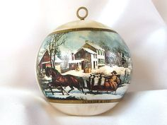 Vintage 1970s satin Currier and Ives Hallmark Christmas ornament features two pictures from the famous print makers - one of horses pulling a sleigh,
