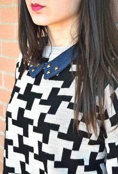 colletto con borchie/ colletto in jeans/ di VanessaVanHandmade