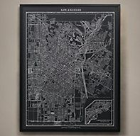 RH's 1900s Lithograph Map of Los Angeles:Based on a lithograph published in an atlas of the early 1900s, this map shows Los Angeles on the cusp of the Industrial Revolution. Our archival reproduction is printed in shades of grey to highlight the abstract beauty of the cartographer's art.