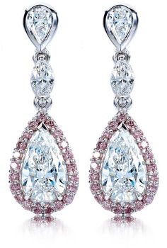 John Calleija designs set of chandelier This suite features two pear shaped diamonds equalling 2.13 ct surrounded by rare Australian Argyle pink diamonds