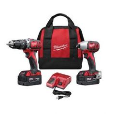 The 2697-22CT M18 Cordless 2-Tool Combo Kit includes the M18 1/2? Hammer Drill Driver (2602-20) and the M18 1/4? Hex Compact Impact Driver (2650-20). The M18 Cordless System's patented technologies and electronics innovative motor design and superior ergonomics provide the most efficient blend of power weight and performance in the industry. Powered by RED LITHIUM the M18 cordless system delivers more torque more power and longer run-time than the competition.