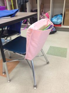 Chair Back Pocket Classroom Organization Custom Order color and size Book Folder Magazine Holder Washable Sturdy Duck Cloth Easy On Caddy