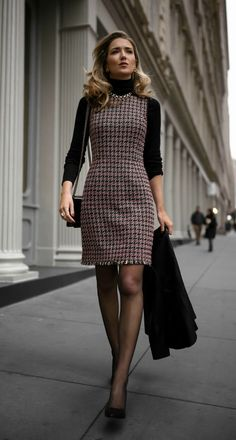 Tweed fit-and-flare hounds-tooth dress, black layering turtleneck for women Autumn Mode Outfits, Dress Outfits, Fashion Outfits, Black Outfits, Fashion Wear, Dress Fashion, Jackets Fashion, Houndstooth Dress, Tweed Dress