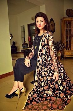 Very stylish.u can wear this outfit without the long gown to dress down. You don't need much to dress up more because the gown with beautiful gold embroidery is a jewel it self. But a long neckless or a bracelet can still b added for bigger occasions Oriental Fashion, Asian Fashion, Fashion 2015, Pakistani Outfits, Indian Outfits, Western Outfits, Eastern Dresses, Casual Formal Dresses, Desi Clothes