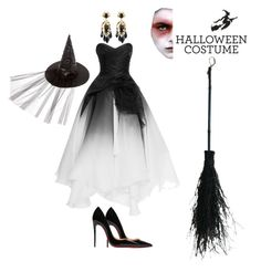 """""""Hollowen Party """"powerful of beauty witch"""" 😊"""" by nitakadir on Polyvore featuring Christian Louboutin, Gucci and Marchesa"""