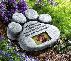 GRAVE Pet Dog Cat Paw Stepping Memorial Stone Plaque Print Picture Frame Garden #CollectionsEtc